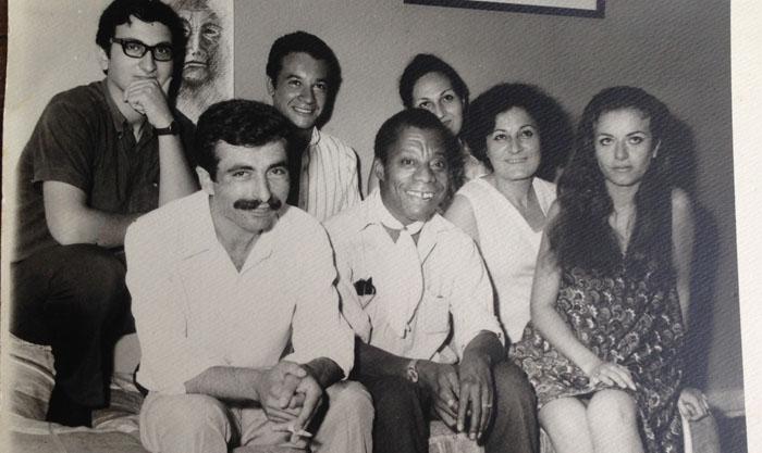 Arkada sağdan Jermen, Baldwin'in arkadaşı Fransız yazar Alain, Levon. Önde, Vartanuş, Silva, Jimmy, Nazar