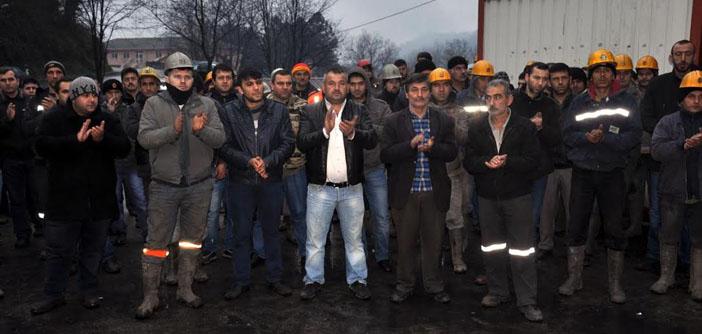 Madenciler yeraltında eylemde