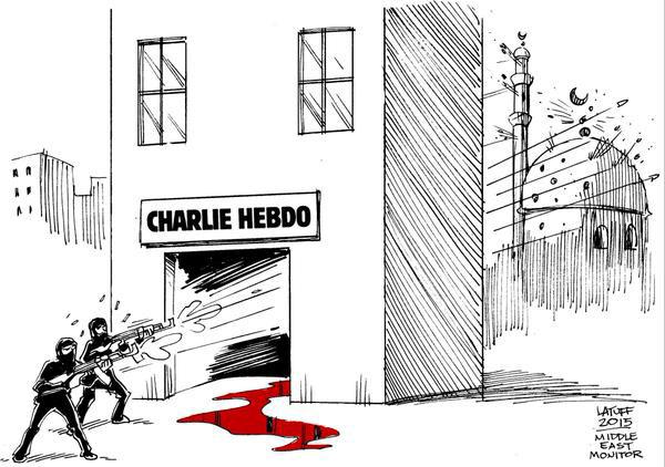 Brezilyalı karikatürist Carlos Latuff'un saldırı üzerine çidiği karikatür