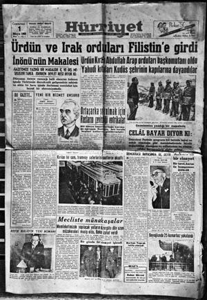 Vartan Melikyan'ın klişelerini yaptığı, Hürriyet'in 1948'de yayımlanan ilk sayısı.