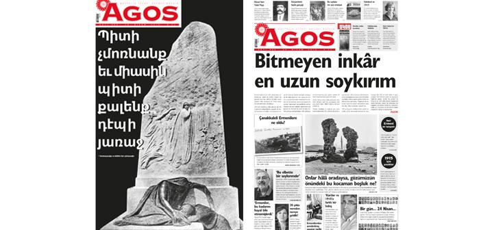 Agos'un 24 Nisan özel sayısı Ermenice kapakla yayında