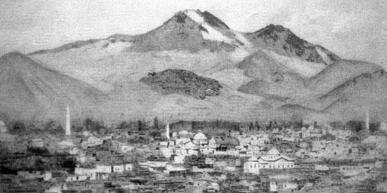 1915 öncesi Kayseri'nin genel görünümü (1915 Öncesinde Osmanlı İmparatorluğu'nda Ermeniler', Raymond Harutiun Kévorkian ve Paul Paboudjian, Aras Yayıncılık, İstanbul 2013)