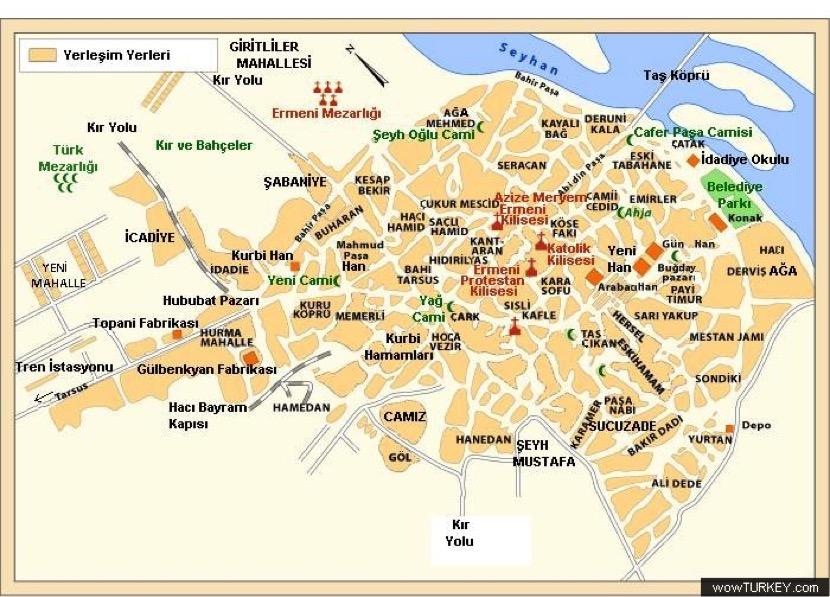 1909 Adana haritası (Kaynak: Meltem Toksöz arşivi)