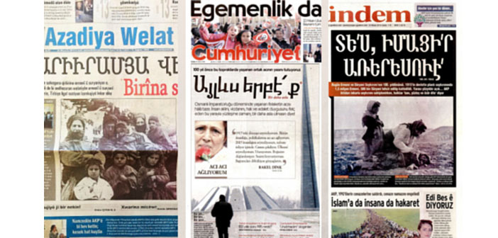 Cumhuriyet and Özgür Gündem published with Armenian headlines on April 24