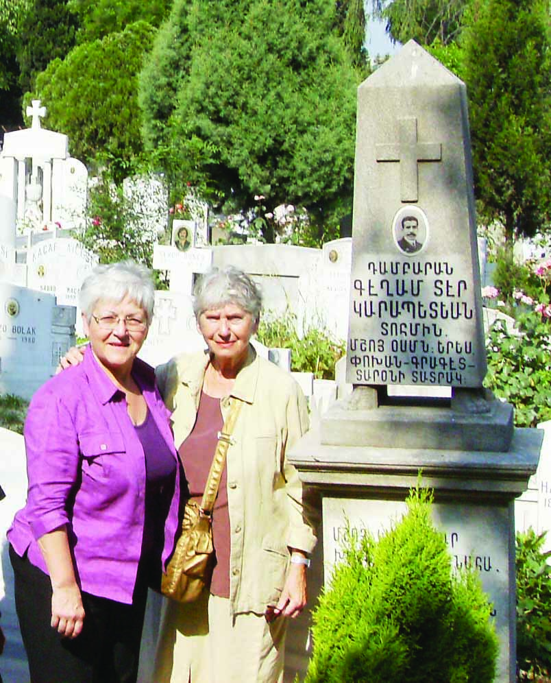 Gülizar's granddaughter historian Anahid Ter Minasyan with Payline Tomasyan from Aras Publishing visiting the tombstone at the Şişli Armenian Cemetery of her grandfather Muş Member of Parliament Keğam Der Garabedyan. (27 May 2008)