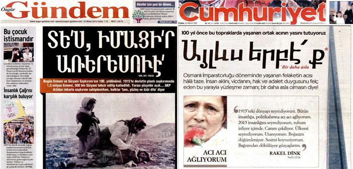 Cumhuriyet en Özgür Gündem openen met Armeense koppen