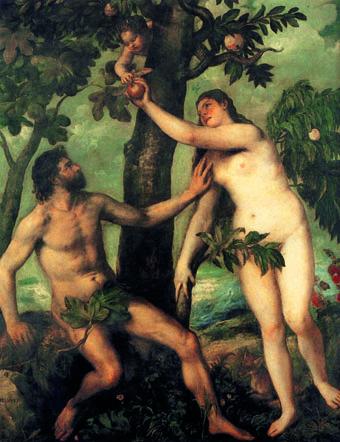 Tiziano Vecellio (Titian), 'Adem ve Havva', 1550