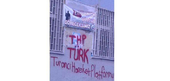"""HDP ilçe binası duvarında """"Türk'ün gücünü göreceksiniz"""" tehdidi"""