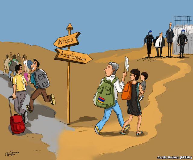 Gündüz Ağaev, ailesiyle birlikte Azerbaycan'a sığınan Martirosyan'ı karikatüründe böyle resmetmişti.
