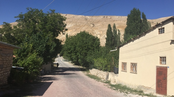 """Gürün'deki bu sokak, ağaçların bitiminde görülen ve sokağı dikine kesen başka bir yola çıkıyor. 100 yıl önce o yol patikadan biraz daha genişti ve yol boyunca kavak ağaçları uzanıyordu. Yolun öteki tarafında ise bugün artık beton duvarlarla iyice ehlileştirilmiş olan Tohma Çayı var. Zarig ve kızı Hiranuhi'nin evi sokağın sağ ucundaydı, ki hâlâ öyle; sol ucunda ise onlara """"Ermeni Tertelesi geliyor"""" diyen İttihad ve Terakki yöneticisi Eminbeyoğlu Mehmet Bey'in evi. Zarig ve Hiranuhi 1915 yazındaki tehcirde, önlerinden geçen çoluklu çocuklu Ermeni kafilelerini bugün artık yerinde olmayan o evin pencerelerinden izlediler, çığlıklarını kollarının yeninde boğarak."""