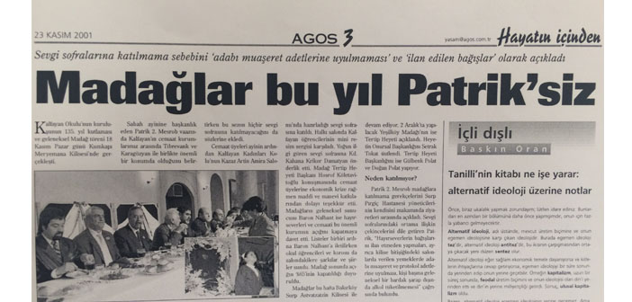 Agos' archive: The Patriarch won't attend madaghs this year