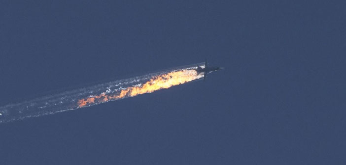 Along Syrian border, a Russian warplane downed