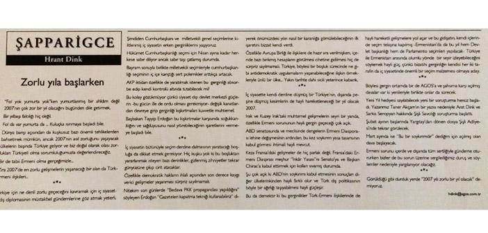 Agos'un arşivinden: Hrant Dink'in kaleminden 'zorlu yıl 2007'
