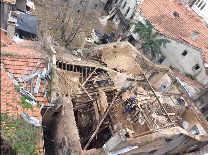 Narmanlı Han'da devam eden yıkımdan yeni görüntüler
