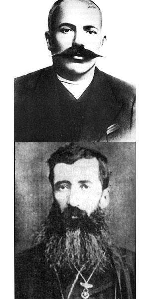 Raffaele'nin babası,'Demirci Garabed Canikyan,1910 (üstte) ve dedesi, Hodorçur kazasının ruhani lideri ve valisi Patrik Garabed Bakraduni Çakalyan Hazretleri, 1900 (altta- Gianighian arşivi)