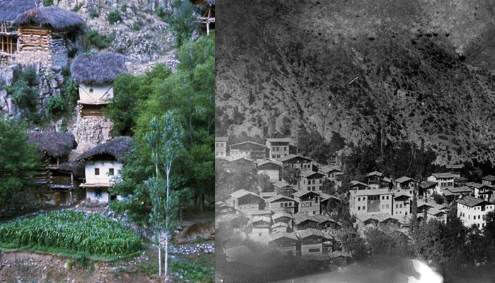 Garmirk Köyü.Raffaele Gianighian'ın 1977'de çektiği fotoğraf (solda) ve Gianighian'ın Hıdırçur'da doğduğu köy,Kisak,1910 (sağda - Gianghian arşivi)