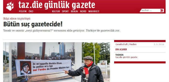 Taz'dan basın özgürlüğü gününde Türkçe ek