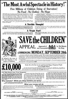 The Sun Gazetesi'nde 15 Eylül 1920'de yayımlanan bir bağış ilanı