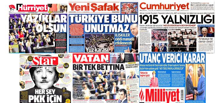 Türkiye medyası Soykırım tasarısını nasıl gördü?