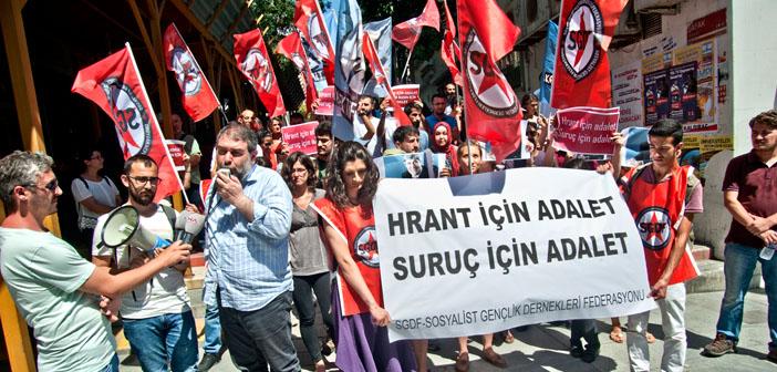 Agos'un önünde 'Hrant için, Suruç için Adalet'
