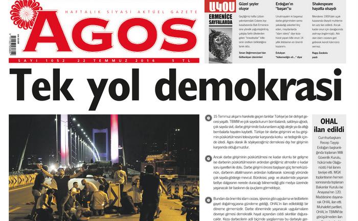 Agos 'Tek yol demokrasi' manşetiyle çıktı