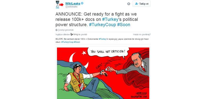 Wikileaks'den iddia: Türkiye'ye dair 100 bin belge yayımlayacağız
