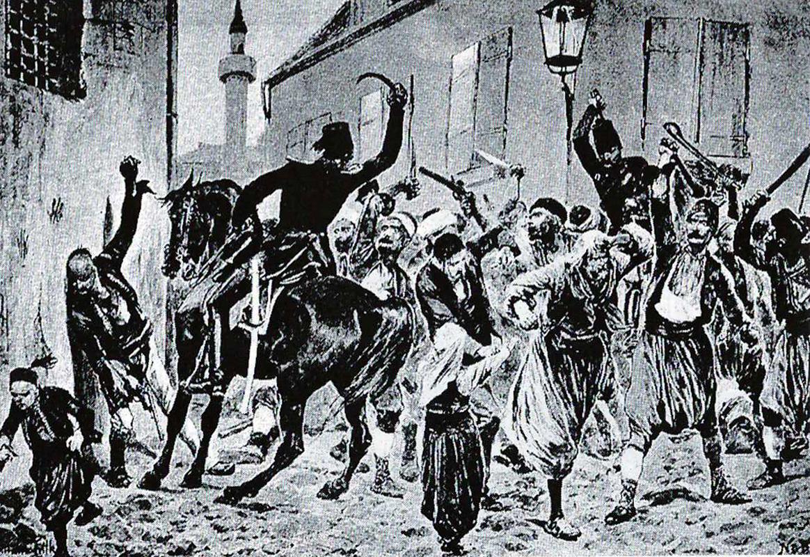 Dersaadet'te Bank-ı Osmani Şahane (Osmanlı Bankası) olayının ardından şehrin sokaklarında ve odalarında çoğunluğu hamalların oluşturduğu binlerce Ermeninin kırıma uğramasını tasvir eden bir İngiliz gravürü.
