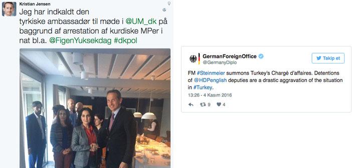 Almanya ve Danimarka, Türkiye büyükelçilerini çağırdı