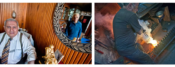 (Solda) Aynada yansıyan Hagop İnyapan, 'Kendisinden çok feyz aldım.' dediği Hagop Sakayan'la. (Sağda) Zareh Usta dökümhanesinde alın teri dökerken
