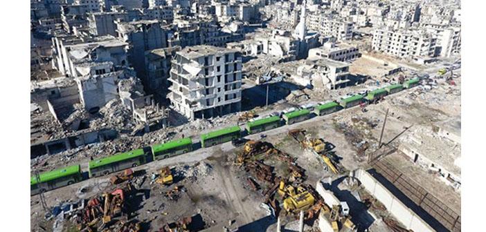 Doğu Halep'ten tahliyeler durduruldu