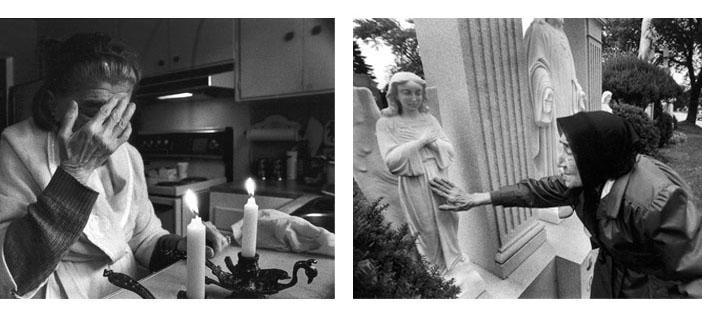 (solda) Mutfağımızdaki Cumartesi kilisesi. Elleri Parkinson hastalığından dolayı titrediği için mumları yakmasına yardım ederdik. (sağda) Melek annem mezarlık ziyaretinde.