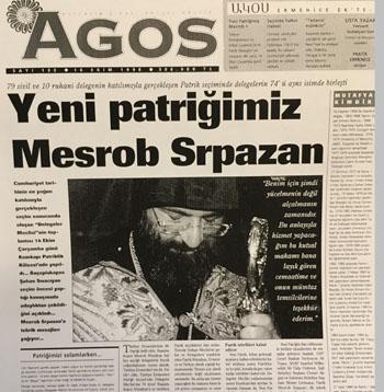 1998'de Mesrob Mutafyan Patrik seçildikten sonra Agos'un manşeti.