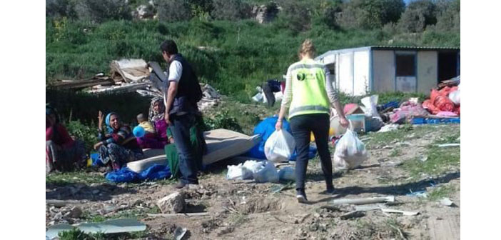 Refugees in Izmir take shelter in temporary camp area