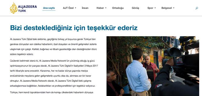 Al Jazeera Türk yayınını durdurdu