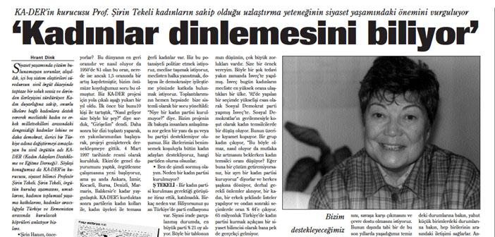 Agos'un arşivinden: Hrant Dink soruyor, Şirin Tekeli cevaplıyor