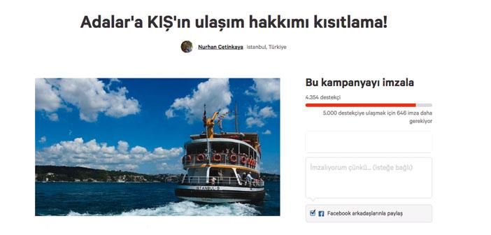 Adalarda kış tarifesine karşı kampanya
