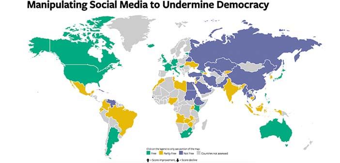 Türkiye internet özgürlüğünün en çok kısıtlandığı ülkelerden