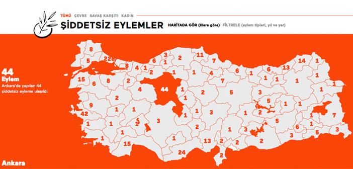 Türkiye'nin şiddetsiz eylem haritası yayında