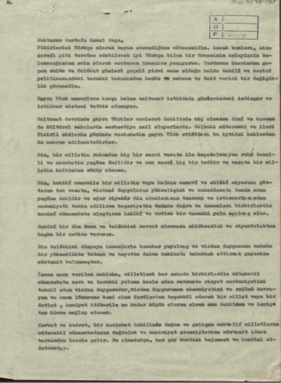 Mektubun ilk sayfası