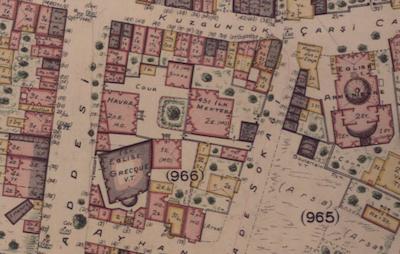 Pervititich haritasında 1900'lerin başlarında Kuzguncuk