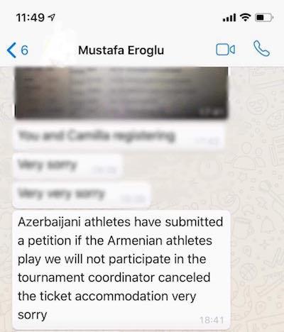 Gevorgyan Facebook sayfasından kendisine gelen mesajı paylaştı
