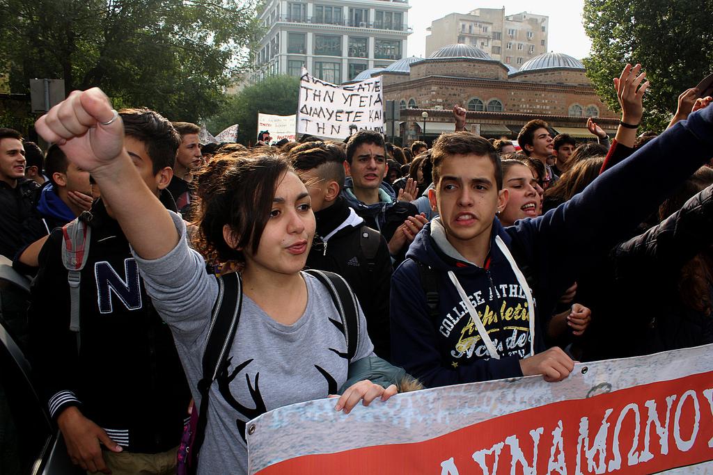 Yunanistan'da öğrenciler meydanda