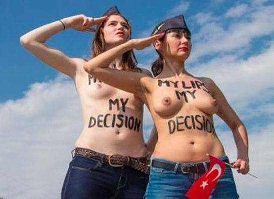 FEMEN'den THY hosteslerine destek
