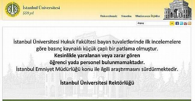 İstanbul Üniversitesi'nde patlama meydana geldi