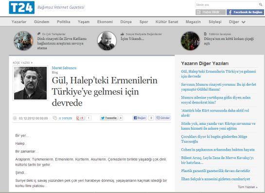Gül, Halep'teki Ermenilerin Türkiye'ye gelmesi için devrede