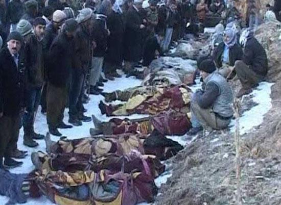 Cenazeler köye doğru yola çıkarıldı