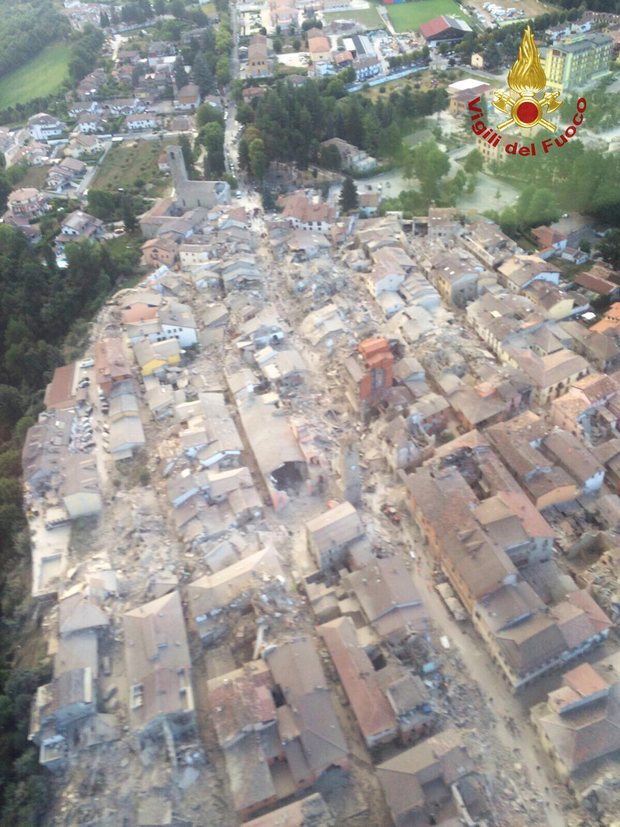 Aerial photo of Amatrice, the hardest-hit town. Photo: HANDOUT/Reuters